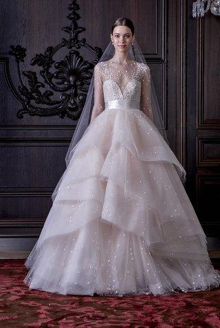 monique-lhuillier-blush-wedding-dress-with-tiered-skirt