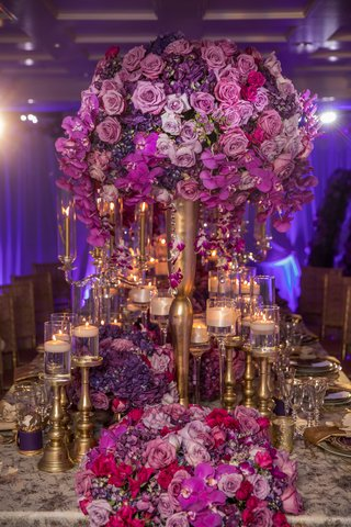 grand-bold-pink-purple-centerpiece-feminine-wedding-styled-shoot-dinner-candles-roses-gold