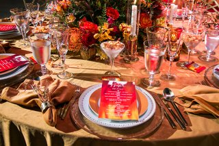 fire-inspired-wedding-styled-shoot-watercolor-menu-cards-in-warm-colors-red-orange-yellow