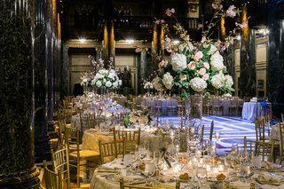 gold-reception-space-florals-greenery-classic-catholic-carnegie-museum-hall-roman-italian
