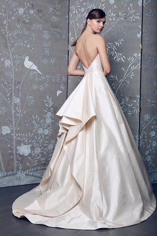 legends-romona-keveza-fall-2018-blush-ball-gown-ruffle-back-detail-low-v-back-strapless-wedding-gown
