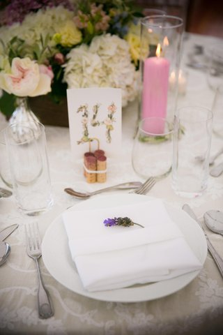 sprig-of-lavender-at-place-setting-for-wedding-pink-candle-flower-print-table-number