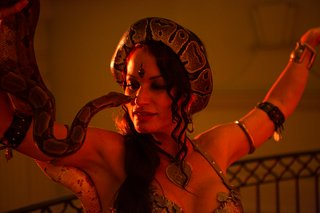 belly-dancer-performs-with-snake-at-moroccan-themed-engagement-party