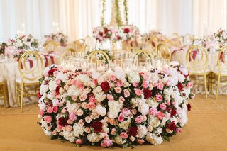 lush-floral-sweetheart-table-red-blush-ivory-pelican-hill-resort-wedding-greenery-gold