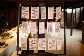lyndsy-fonseca-wedding-reception-diy-seating-chart-purple-table-assignments-clothespins-on-twine