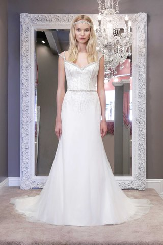winnie-chlomin-2016-fit-and-flare-wedding-dress-with-jewel-bodice-and-beaded-neckline-and-cap-sleeve