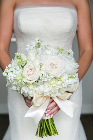 light-hued-bridal-bouquet-jewel-accents-rose-bow-classic-wedding-florals