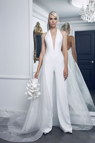 romona-keveza-collection-bridal-fall-2018-deep-v-neck-jumpsuit-silk-halter-with-overskirt-sheer