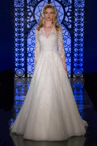 reem-acra-bridal-fall-2016-a-line-wedding-dress-with-sheer-v-neck-and-long-sleeves