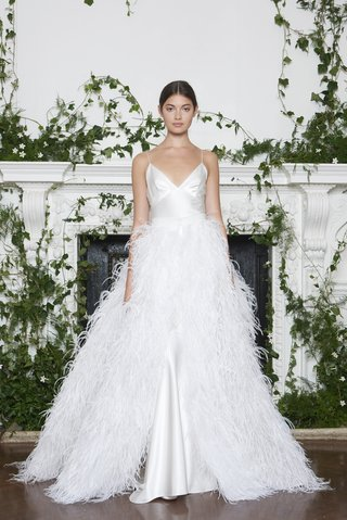 monique-lhuillier-fall-2018-silk-white-gown-with-spaghetti-straps-and-feather-overskirt