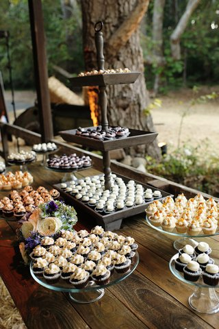 miniature-cupcakes-at-rustic-wedding-dessert-table