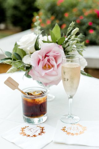 wedding-reception-cocktail-hour-rose-gold-foil-napkins-monogram-jack-me-up-hashtag-wood-stirrer