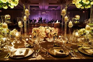 wedding-reception-table-texture-linens-candleholders-acrylic-lucite-with-purple-lighting-band-stage