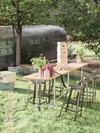 outdoor-cocktail-table-jenga-greenery-california-boho-chic-wedding-styled-shoot-fun-unique-game