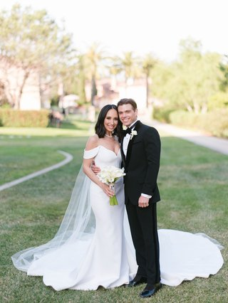 cheryl-burke-and-matthew-lawrence-wedding-portrait-romona-keveza-wedding-dress-off-shoulder-onik