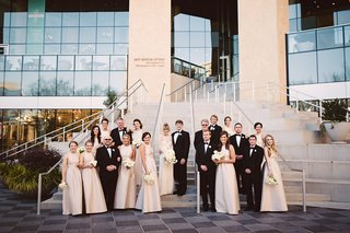 bride-in-monique-lhuillier-groom-in-jos-a-bank-bridesmaids-in-alfred-sung-mint-museum-uptown