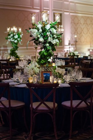 wedding-reception-forest-theme-wood-vineyard-chairs-greenery-white-rose-hydrangea-candelabra-gold