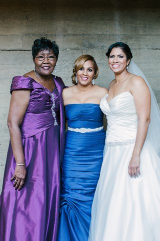 bride-with-sister-and-bridesmaid-and-mother-of-bride-in-satin
