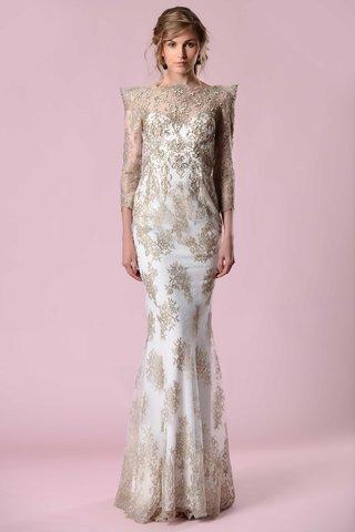 gemy-maalouf-2016-gold-three-quarter-sleeve-wedding-dress