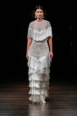 naeem-khan-bridal-fall-2017-punta-del-este-wedding-dress-high-jewel-neck-fringe-layered-skirt