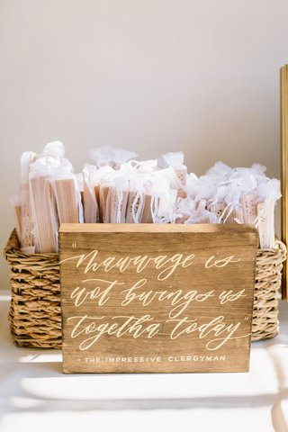 wedding-ceremony-favors-wood-fans-in-bags-basket-wood-sign-calligraphy-quote-princess-bride-movie