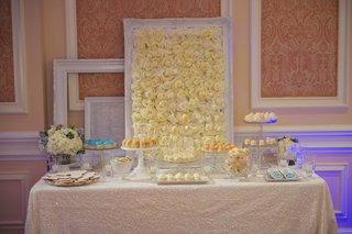 flower-wall-behind-white-and-cream-wedding-dessert-table