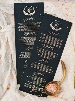 wedding-menu-card-black-and-gold-salad-vegetables-meat-and-desserts-monogram