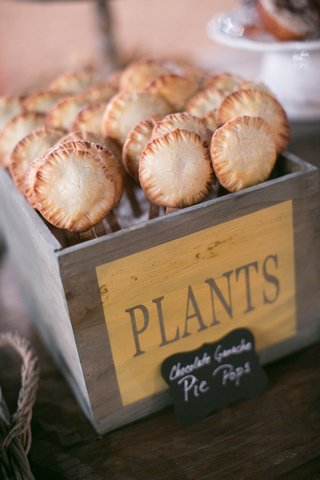mini-pies-on-sticks-in-rustic-wood-plants-box-and-chalkboard-sign