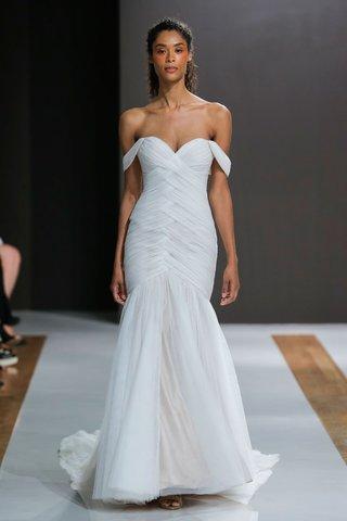 mark-zunino-spring-2018-wedding-dress-off-shoulder-bridal-gown-woven-bodice-drop-waist-tulle-skirt
