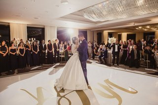 bride-in-ball-gown-pnina-tornai-with-groom-first-dance-on-dance-floor-guests-watching-in-ballroom