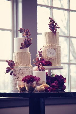 wedding-cakes-with-golden-tiers-monogram-antique-script-and-antique-rose-adornments