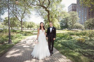 bride-in-hayley-paige-a-line-gown-with-sequin-details-groom-in-tuxedo-chicago-park-wedding-picture