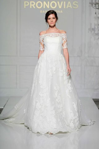 pronovias-2016-princess-wedding-dress-with-off-the-shoulder-elbow-length-lace-sleeves