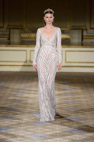 berta-fall-winter-2016-long-sleeve-v-neck-wedding-dress-with-zebra-stripes