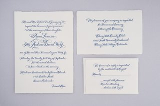 wedding-invitations-with-blue-calligraphy-on-white-paper