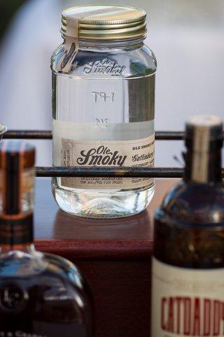 mason-jars-on-bar-cart-at-reception