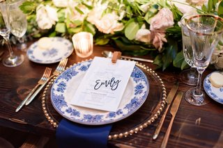wedding-reception-head-table-wood-greenery-blue-white-china-laser-cut-place-card-name