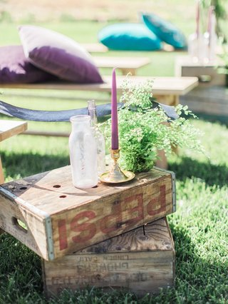 old-wooden-boxes-vases-bright-candles-fern-california-boho-chic-wedding-styled-shoot-ceremony-aisle
