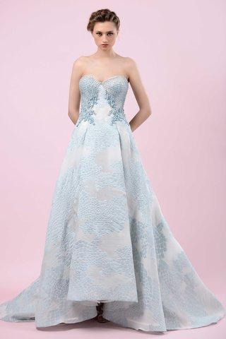gemy-maalouf-2016-strapless-blue-wedding-dress-with-high-low-hem