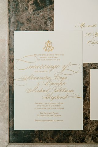 wedding-invitation-suite-with-gold-monogram-and-multi-sizes-of-calligraphy-rectangle-card