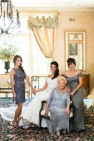 bride-with-sister-mother-and-grandmother-in-vintage-gowns