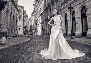 black-and-white-photo-of-gala-by-galia-lahav-2016-tight-v-neck-wedding-dress-with-overskirt-train