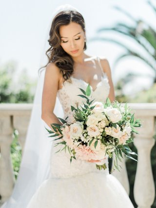 bride-with-hair-on-one-side-lace-dress-bouquet-white-garden-rose-cafe-au-lait-dahlia-flowers-soft