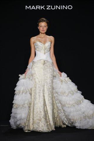 mark-zunino-for-kleinfeld-2016-strapless-gold-wedding-dress-with-ruffle-over-skirt