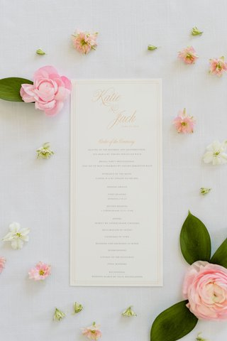 wedding-ceremony-program-order-of-events-classic-catholic-mass-gold-calligraphy