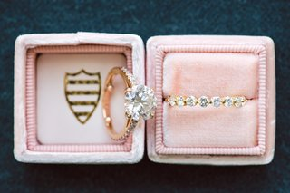 blush-mrs-box-with-round-diamond-engagement-ring-with-round-diamond-eternity-wedding-ring