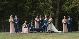 wedding-party-bride-and-groom-with-dog-bridesmaids-in-light-pink-dresses-jenny-yoo-groomsmen