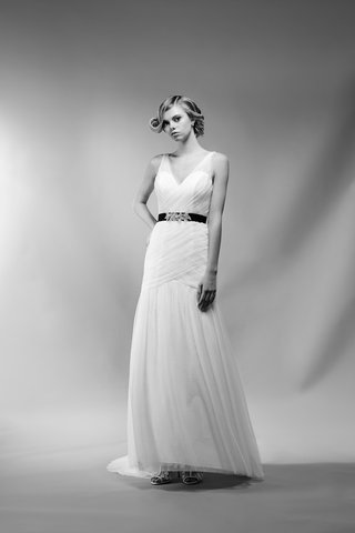 black-and-white-photo-of-sonia-wedding-dress-by-ivy-aster-with-germaine-sash-black-ribbon-floral