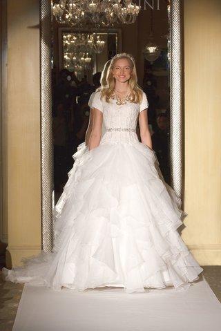 oleg-cassini-davids-bridal-wedding-dress-lace-ball-gown-short-sleeves-corset-bodice-ruffle-skirt