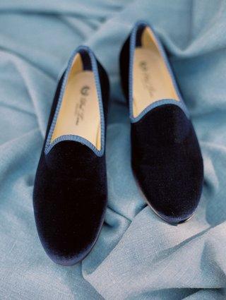 navy-blue-velvet-slippers-for-groom-with-lighter-blue-trim-wedding-shoes
